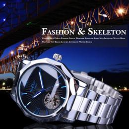 Accesorios de Moda Blue Ocean Geometría Diseño Esqueleto transparente del dial del reloj para hombre superior de la marca de lujo mecánico automático Reloj Reloj en venta