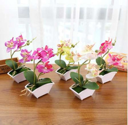 restaurant pots Australia - LanLan Simulate Butterfly Orchid with Flowerpot Potted Artificial Plant Home Garden Office Decoration