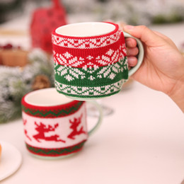 Decoration For Party Tables NZ - New Arrival Christmas Decoration for Home Mug Cover Christmas Tree Snowflake Elk Knitted Cup Cover New Year Party Table Decor Y18102609