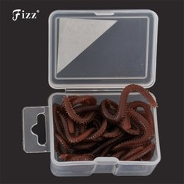 Bait Boxes Wholesale NZ - 15pcs   box Artificial Worm Worms Simulation Fishing Lure Tackle Soft Bait Lifelike Fishy Smell Lures Red Gray Hot Sale Y18100806