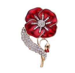 Bridal Brooch Flower UK - Luxury Fancy Red Flower Brooch Pin Amazing Crystal Clothes Accessories Jewelry Brooches For Wedding Bridal Jewelry