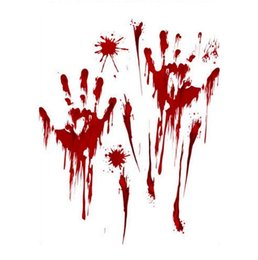 Wholesale Horror Decal Decor New Removable Halloween Blood Handprint Glass Window Living Room Classroom Decoration Halloween Wall Stickers GA448
