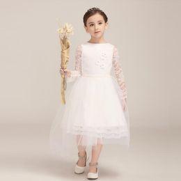 5d1580e9ced7 Pretty Girls' Wedding Party Dress Long Sleeves Tea Length Ball Gown Lace  Design 2018 New Style Flower Dress Children