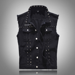 $enCountryForm.capitalKeyWord Canada - Summer Autumn Men's Black Denim Vest Punk Style Slim Fit Sleeveless Jeans Jacket Coat with Rivets Plus Size