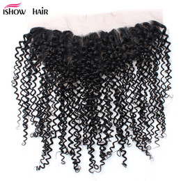 8a virgin malaysian curly hair 2019 - Wholesale 8A Brazilian DeepCurly Lace Frontal Closure Free part 13*4 Virgin Human Hair Ear to Ear Lace Frontal Peruvian