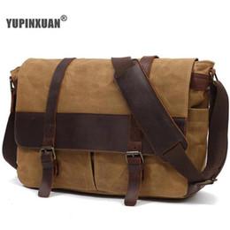 YUPINXUAN Europe Vintage Waterproof Men Bag Pure Coon Canvas Leather  Shoulder Bags Retro Oil Wax Postman Bag Large Laptop Bags 47c0ffa23298b