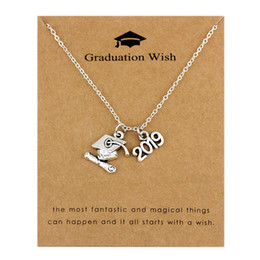 Discount chain necklace boys - 2019 2020 Graduation Pendants Necklaces Square College Cap Diploma Senior Charm Women Men Girl Boy Unisex Fashion Jewelr