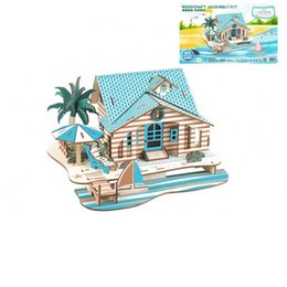 Learning wooden toys online shopping - 3D Stereoscopic Wooden Developmental Jigsaw Puzzle Simulation Bali Island Holiday House Learning Education Toys DIY Intelligence Toy xl W