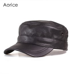 4a97a4386592c5 AorGenuine Leather Men Baseball Cap Winter Hat High Quality Men Real Sheep  Skin Women Solid Army Hats Adjustable HL153-B