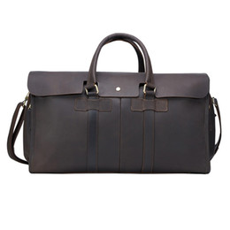 Vintage Genuine Leather Men Travel Bag Carry on Large Luggage Men leather  duffle overnight weekend Shoulder bags Tote Sports leisure Handbag 0fce1157aa532
