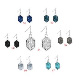$enCountryForm.capitalKeyWord Australia - Druzy Earrings Resin Drusy Charms Dangle Earings Silver Gold Plated Women Lady Fashion ACC Jewelry