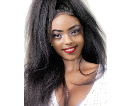 Yaki curlY wig online shopping - Kinky Straight Lace Frontal Wig Pre Plucked With Baby Hair Density Lace Front Human Hair Wigs Coarse Yaki Remy