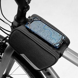 Roswheel Waterproof Cycling Bike NZ - Roswheel 2018 New 121461 Waterproof Cycling Bike Bicycle Front Frame Top Tube Double Bag Pannier with 5.7in Silicone phone clip