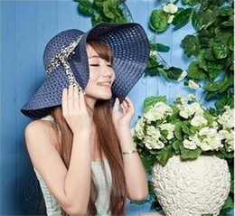 Sun hat holidayS online shopping - Hand Woven Sun Hat Summer Lady Hollow Out Bow Seaside Holiday Beach Sunshade Polychromatic Wide Brim Hats yz cc