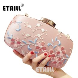 Evening Purses Flowers Australia - ETAILL Pink Flower Embroidered Evening Bags for Party Wedding Silk Banquet Purse Girls Shoulder Crossbody Bags Chain Clutch bag