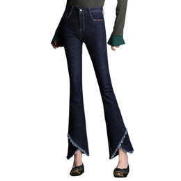 26 лет в джинсах  оптовых-High Quality New Women s Slim Mid Waist Boot Cut Jeans Fashion Bell Boom Trousers Flared Pants Plus Size