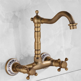 Faucet bathroom wall sink online shopping - Rotatable Minimalism Water Tap Brass Mounted Kitchen Bathroom Sink Faucet Dual Antique Entry Into The Wall Stopcock Home Decor yj jj