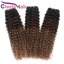 12 inch brazillian curly hair 2021 - 1B 4 30 Kinky Curly Hair Weave Virgin Brazilian Ombre Human Hair Bundles Colored 3 Tone Black Brown Blonde Brazillian Curly Ombre Extensions