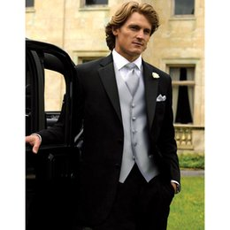 grey suits for mens wedding color NZ - New Custom Made Classic Black Wedding Suits For Men Notched Lapel Tuxedos Mens Suits Two Button Groom Suits (Jacket+Pants+Vest)