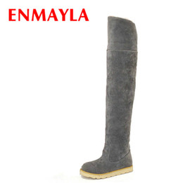 Long Half Slips Canada - ENMAYLA Fur Female Over The Knee Boots Women Slip-on Round Toe Flock Leather Flats Heel Snow Boots Shoes Woman Winter Long