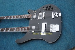 guitar double neck bass NZ - Black Double Neck 4 Strings Electric Bass Guitar and 6 Strings Electric Guitar