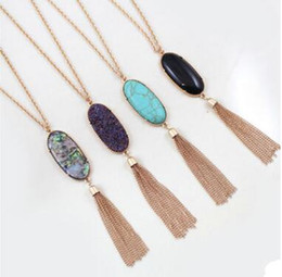 natural stone tassel necklaces UK - Bohemian Long Tassel Statement Necklaces for Women Natural Stone Druzy Pendant Bulk Price 10 pcs