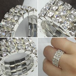 Women High Quality Top Creative Popular Rhinestone Toe Ring Tone 3 Row  Crystal Elastic Finger Ring dd4147b158e3