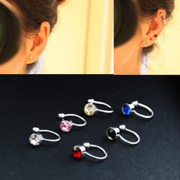 55adc73fe 4MM 6 colors women clip on earrings Rhine stone Ear Cuff jewelry fake piercing  U-Type ear clips ohrringe girl Gift