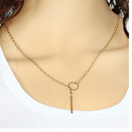 Wholesale Bridal Necklace Lariat Jewelry Bar Pendant Drop Delicate Choker Long Lariat Necklace Circle Statement Long Minimal Y Choker Golden Necklace