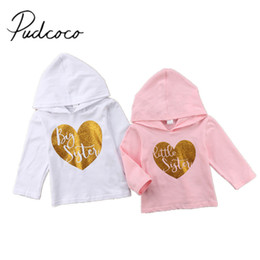 Big Little Shirts Australia - 2018 Brand New Toddler Kid Baby Girl Little Big Sister Matching Clothes Hooded Hoodie Tops T-shirt Shirt Long Sleeve Clothes