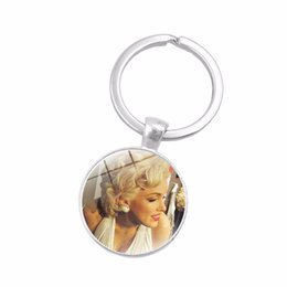 $enCountryForm.capitalKeyWord UK - Glass Cabochon Jewelry with Silver Plated Marilyn Monroe Shaped Car Accessories Keychain Ring for Women Men