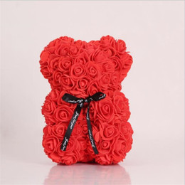 Artificial Decorations Beautiful Cute Pe Rose Bear Toy For Girl Friend Plastic Foam Rose Flower Teddy Bear Valentines Day Gift Wedding Decoration