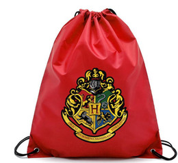 Wholesale harry potter Drawstring Pocket Bags Fashion School Canvas Bag Backpacks Harry Potter Shopping bags Pouch design KKA5752
