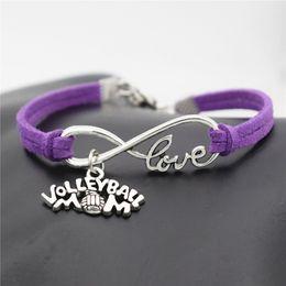 $enCountryForm.capitalKeyWord Australia - Hot Bulk Sale Price Promotion Infinity Love Volleyball Mom Game Team Sports Pendant Bracelet For Women Men Purple Leather Suede Jewelry Gift