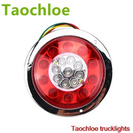 Wholesale Trailer Lights Australia - trailer truck 1pair Waterproof Car Trailer Truck 19 LED Round Tail Brake Light Turn Signal Stop Light Side Lamp RED and AMBER
