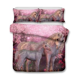 China Hot Sale Floral Cartoon Unicorn Bedding Set Printed Bed linens Queen King Size 3pcs Duvet Cover For Kids Pillow Case Flat Sheet supplier hot pink beds suppliers