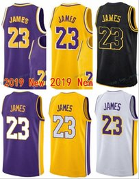 4d38347d631 Mesh Yellow Gold 2018 19 New Jersey 23 LeBron James Basketball Jerseys The  City Embroidery Logos 2019 100% Stitched White Black Purple Blue
