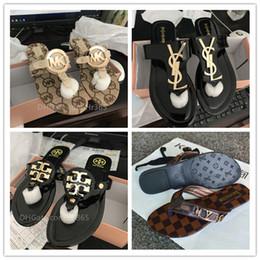 bb9fcdbe181e56 mk sandal Luxury brand Women high-end slippers ladies slides gg 2018  fashion Sole leather flip flops flat-bottomed sandals women s shoes