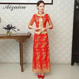 $enCountryForm.capitalKeyWord Australia - Red Bride Cheongsam Grain Fashion Women Embroidery Modern Chinese Wedding Dress Long Traditional Clothes China Qipao Pattern