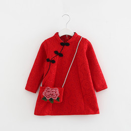 Chinese embroidered Coats online shopping - Girls Clothes Chinese Style Cheongsam Plus Velvet Girls Dress Autumn Winter Children Toddler Girls Clothing New Year Clothes Coat with Bag