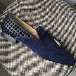Wedding Shoes Men Blue Australia - New Brand Designer Men Women Red Bottom Loafers Dress Shoes Blue Suede With Tassel Square Toe Oxfords Wedding Shoes 35-47 Drop Shipping
