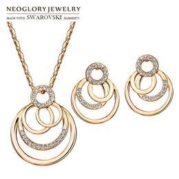 $enCountryForm.capitalKeyWord UK - Neoglory Austria Rhinestone Jewelry Set Trendy Geometric Round Stylish Rose Gold Color For Necklace & Earrings Lady Romantic