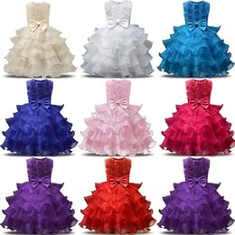 Discount european ball gowns - Baby flower dress TUTU cupcake Princess dresses 2018 new fashion Kids Clothing Boutique girls Bow Ball Gown 8 colors C35
