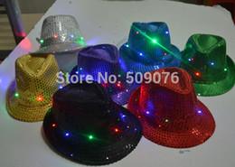 flashing fedora 2019 - Freeshipping Adult Women Men Fedora LED Flashing Sequins Light Up Jazz Cap Hip Hop Hat Party Birthday Hats Cap Christmas