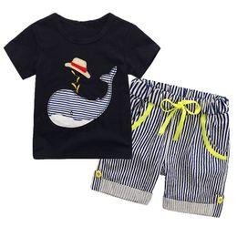 $enCountryForm.capitalKeyWord NZ - Summer Boy whale hat stripe suit new children cartoon dinosaur Short sleeve T-shirt +shorts 2 pcs set baby clothes suit