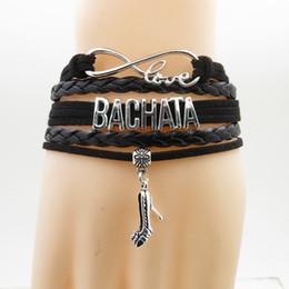 Dancer Bracelets Australia - fashion Bachata Bracelet high heels Charm Bachata dancer gift black leather wrap bracelets & bangles for Woman man dance hobby