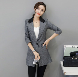 $enCountryForm.capitalKeyWord Canada - Ladies Formal Office Slim Fit Jackets Coats Korean OL Style Womens Grey Long Blazers Woman Spring Autumn Long Sleeve Suits
