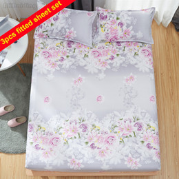 $enCountryForm.capitalKeyWord Australia - Purple Rose Flower Bed Sheet Sets Include 1pc Fitted Sheet + 2pcs cases Polyester Cotton Bed Linens Mattress Cover Protect