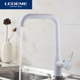 $enCountryForm.capitalKeyWord NZ - wholesale White Kitchen Faucets Deck Mounted Kitchen Faucet Torneira Handle Swivel Sink Faucets Mixers Taps Brass Finish L4698W
