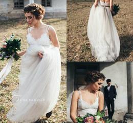 $enCountryForm.capitalKeyWord Australia - Simple Boho Wedding Dresses Spaghetti Lace Appliqued Sweep Train Backless Country Bridal Dress White Custom Made Cheap Wedding Gowns
